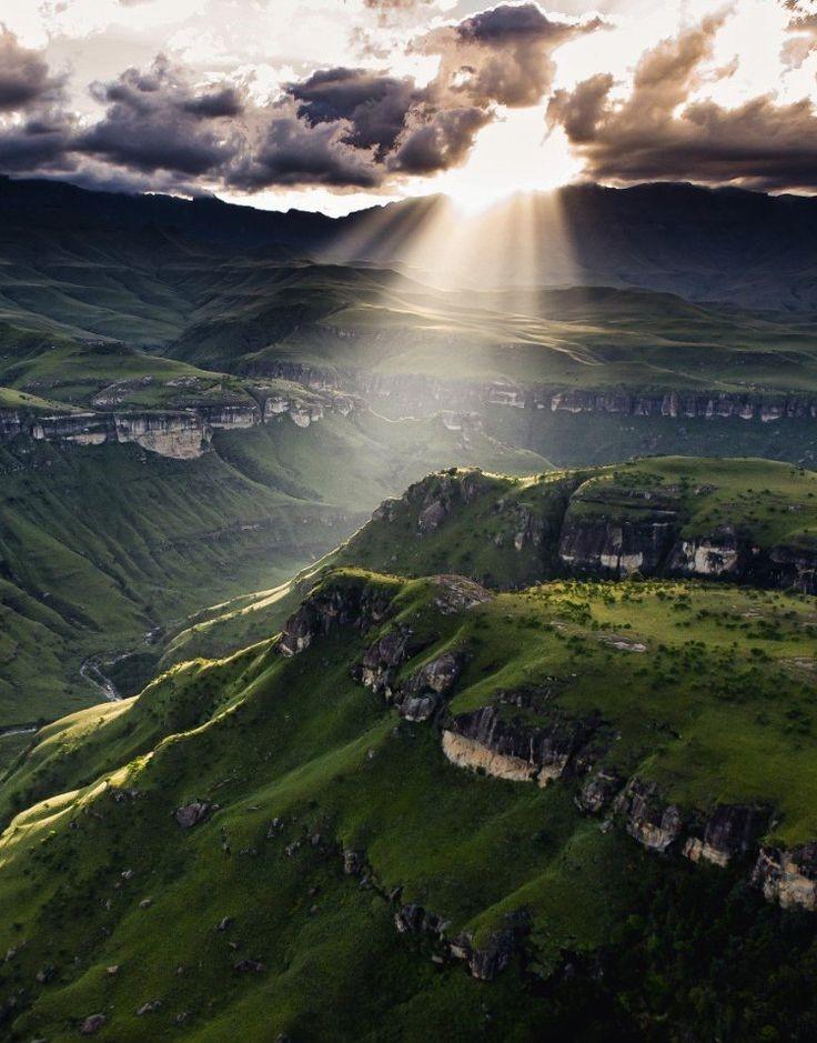 Sun through the Drakensberg Mountians