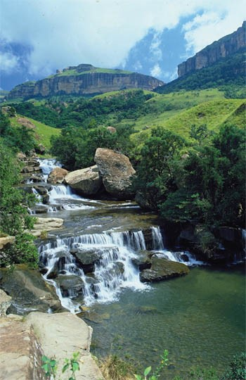 Waterfall in the Drakensberg Mountains